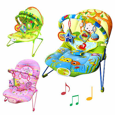 Unisex Baby Bouncer Chair with Soothing Music, Vibration & Toys