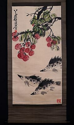 Very Long Old Chinese Scroll Hand Painting Fishes Seal Mark PM005