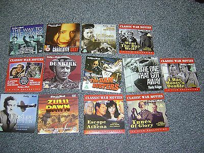 13 daily mail / newspaper promo dvds WAR MOVIES  DUNKIRK  DAM BUSTERS