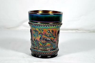 Vintage Dugan Amethyst Carnival Glass Tumbler - Peacock At The Fountain