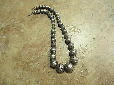 EARLY 1900's OLD Navajo Graduated Silver Handmade Bench Bead Necklace on Rope