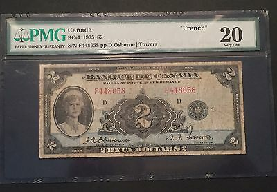 Bank of Canada BC-4 1935 $2 FRENCH TEXT PMG 20 Very Fine