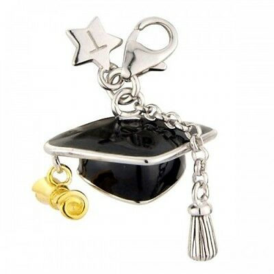 Silver Charm TINGLE GRADUATION HAT, New, Bracelet Charms, SCH207,Jewellery Boxed