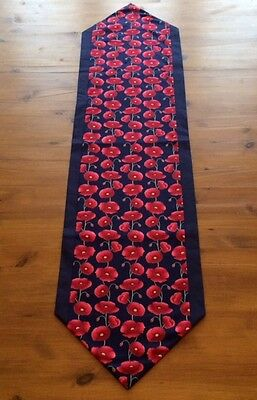 Modern Navy Blue and Red Floral Poppy Design Fabric Table Runner Various Lengths