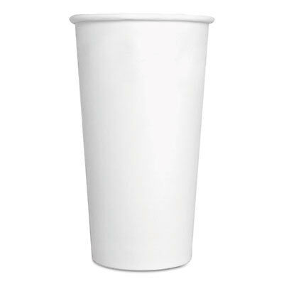 Paper Hot Cups, 20 oz, White, 500/Carton 20HOTCUPWH