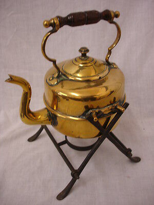 Vintage Brass Kettle On Heating Stand (We)
