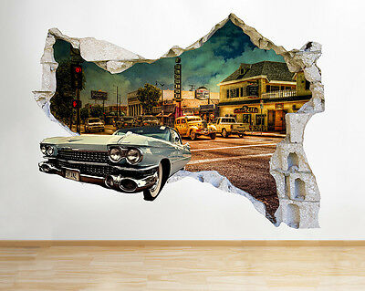 Q029w Car Vintage Retro   Hall Smashed Wall Decal 3D Art Stickers Vinyl Room