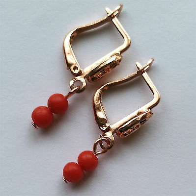 Antique Victorian Natural Genuine Salmon Coral Earrings.