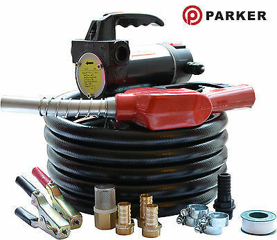 24V Portable Diesel Transfer Fuel Pump Kit - With Automatic Nozzle
