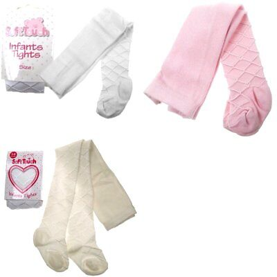 Baby Girls Tights Diamond Pattern 6 Sizes White/pink/cream Christening Wedding