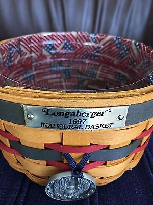 Longaberger Innaugural Basket 1997 with liner, protector and tie on