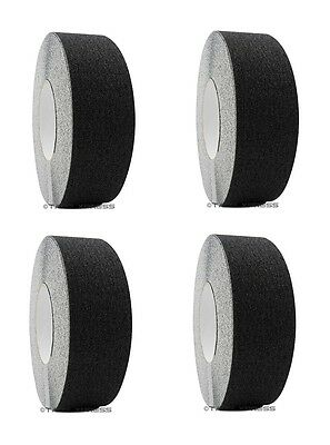 "4 rolls 2"" x 60 Black Non Skid Adhesive Tape 60 Grit Grip Anti Slip Traction"