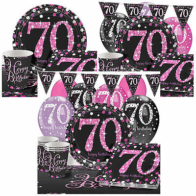 70th Birthday Pink Sparkling Celebration Party Pack Kits - 8 or 16 Guests