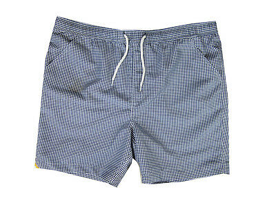 "Mens ""fenchurch"" Blue Checked Swimming Trunks Shorts Swimwear Beach Wear"