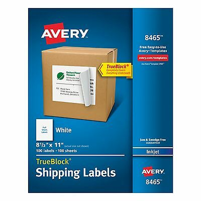 Avery White Full-Sheet Labels for Inkjet Printers with TrueBlock Technolo... NEW