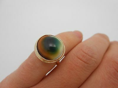Vintage Antique 14k Solid Yellow Gold & Operculum Evil Eye Type Ring Size 4