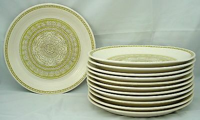 "FRANCISCAN china HACIENDA GREEN patter DINNER PLATE 10-3/4"" Set of TWELVE (12)"