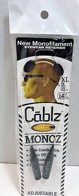 "CABLZ 14"" XL White Sunglasses Glasses Holder MONOZ Adjustable Eyewear Retainer"