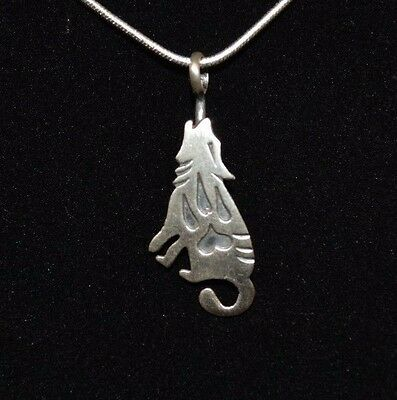 Necklace Native American Wolf Sterling Silver By Navajo Artist Robert Gene