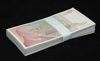 100 Pcs Bundle x Yugoslavia 500000000000 (500 Billion) Dinara, 1993 P-137 Cir