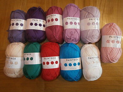 11 balls x Paintbox Yarns Cotton DK Double Knit 50g mixed colours