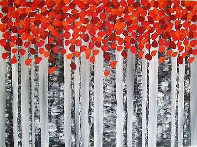 Original Large Abstract Trees Textured Acrylic Landscape  Painting