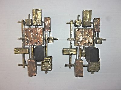 Pair of 1968 Brutalist Wall Candle Sconces