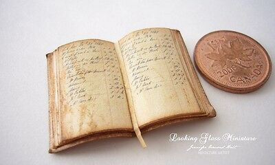 Antique Ledger Open Book with real paper pages Dollhouse 1/12 Scale