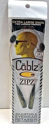 "CABLZ 14"" XL Stainless Sunglasses GlassesHolder ZIPZ Adjustable Eyewear Retainer"