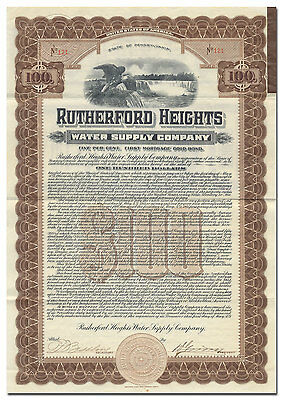 Rutherford Heights Water Supply Company Bond Certificate