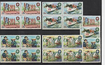 Nicaragua Scout Scouts 4 X Blocks Of 4  + 4 Mnh Mint Look Scan