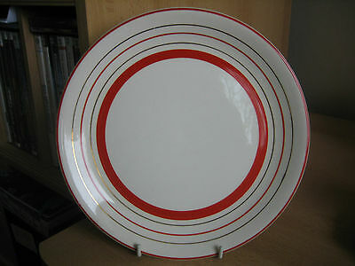 Vintage Alfred Meakin Red/white/gold Striped Dessert Plate