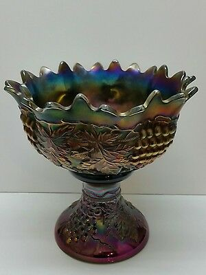 NORTHWOOD Grape & Cable Punch Fruit Bowl & Base Peacock Amethyst Carnival Glass