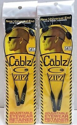"2 pack CABLZ 14"" Black Sunglasses Holder ZIPZ Adjustable Eyewear Retainer"