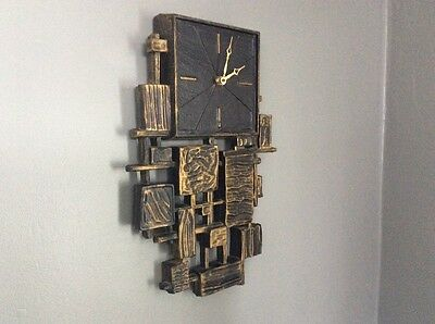 Mid Century Retro Vintage Brutalist Dart Ind. Black Gold Wall Clock Syroco Style