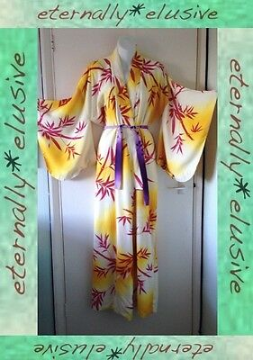 Old Vintage Japanese Kimono Red Bamboo Leaves Dressing Gown Robe Women Ladies OS