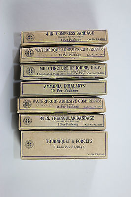 7 Boxes Vintage First Aid Bandages Compress Iodine Mine Safety Appliance MSA