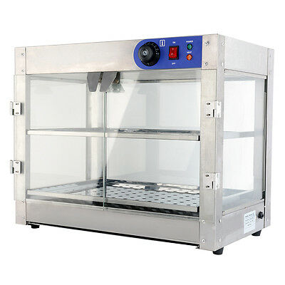 Commercial 24x20x15 inch Countertop Food Pizza Pastry Warmer Wide Display Case