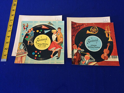 VINTAGE Lot - (2) 1958 Musical Postcard Singing Record- Rock and Roll Birthday