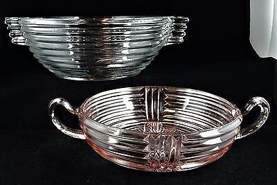 """2 Anchor Hocking Manhattan Clear Glass 7 1/2"""" Fruit Bowl + AHC34 Pink Nappy Bowl"""