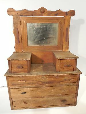 PRIMITIVE AMERICANA 1800's DOLL DRESSER HAND MADE RUSTIC DRESSER WITH MIRROR