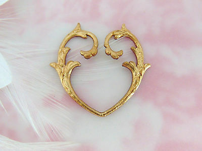 BRASS (2 Pieces) Branch Scroll Open Heart Stamping ~ Jewelry Finding (E-543)