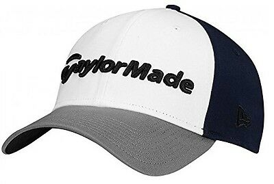TaylorMade New Era 39thirty fitted Cap  Golf Cap (Grey/White/Navy)