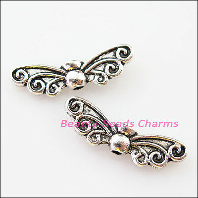 8Pcs Tibetan Silver Animal Butterfly Wings Spacer Beads Charms 6.5x22mm