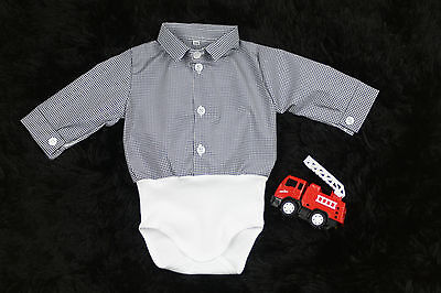 BABY BOY suit Christening White and Black Checked Body shirt Bodysuit formal NEW