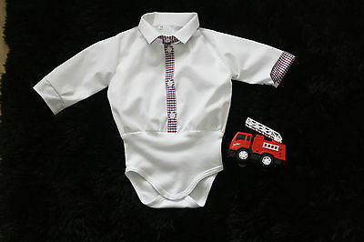 BABY BOY white body shirt bodysuit blue red checked placket formal party NEW