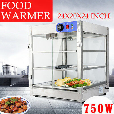 3-Tier Commercial 20x20x24 inch Food Pizza Pastry Warmer Countertop Display Case