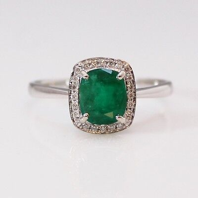 18ct white Gold Colombian Emerald and 14 Diamonds Ring. RRV$ 3150