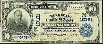 Indianapolis, IN - $10 1902 Plain Back Fr. 628 National City Bank Ch. # (M)10121