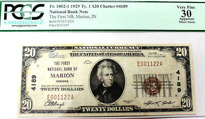 Marion, IN - $20 1929 Ty. 1 The First NB Ch. # 4189 PCGS VERY FINE 30